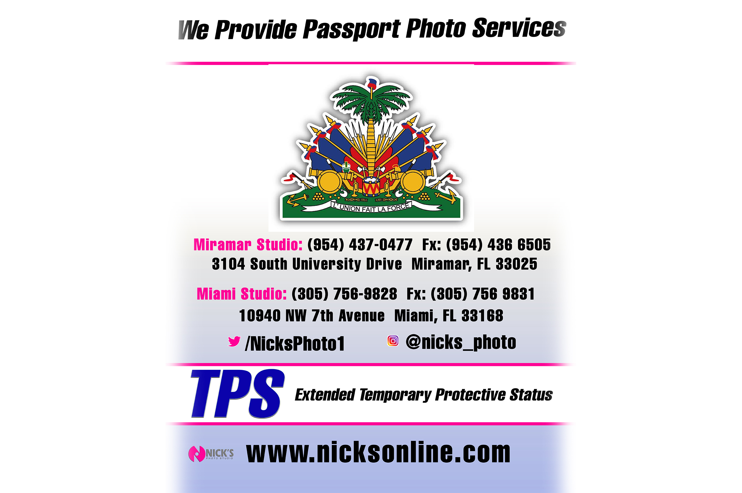 Come to Nick's Photo Studio for passport and immigration portraits.
